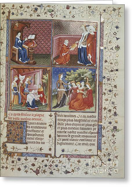 Monk-religious Occupation Greeting Cards - Gioauthor And Dedication Scenes Greeting Card by British Library