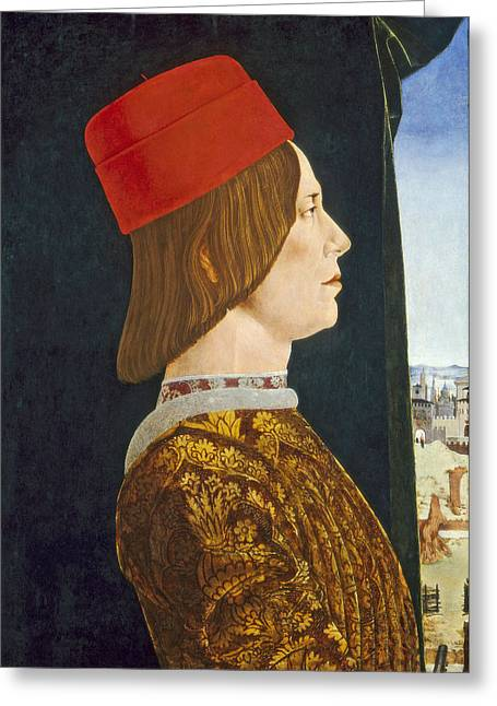 Profile Portrait Greeting Cards - Giovanni Ii Bentivoglio, C. 1474- 77 Tempera On Panel Greeting Card by Ercole de Roberti