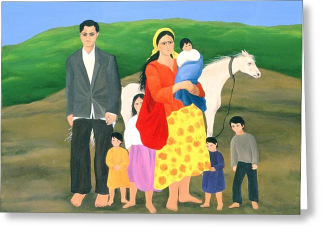 Gypsy Greeting Cards - Gipsy Family, 1986 Oil On Canvas Greeting Card by Magdolna Ban