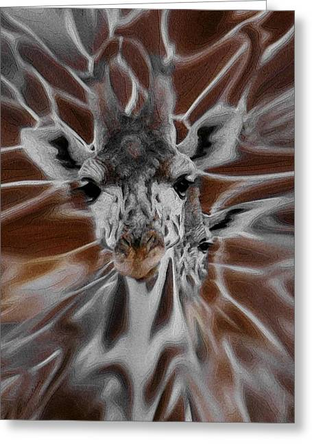 Giraffe Abstracts Greeting Cards - Giraffe Abstract Greeting Card by Ernie Echols