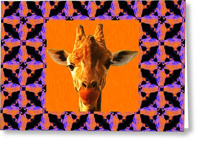 Giraffe Abstracts Greeting Cards - Giraffe Abstract Window 20130205m118 Greeting Card by Wingsdomain Art and Photography