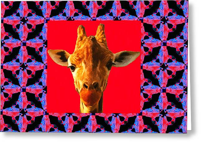 Giraffe Abstracts Greeting Cards - Giraffe Abstract Window 20130205m150 Greeting Card by Wingsdomain Art and Photography