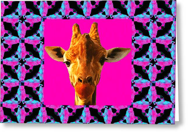 Giraffe Abstracts Greeting Cards - Giraffe Abstract Window 20130205m180 Greeting Card by Wingsdomain Art and Photography