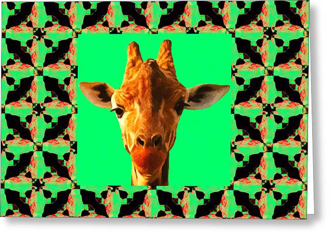 Giraffe Abstracts Greeting Cards - Giraffe Abstract Window 20130205p0 Greeting Card by Wingsdomain Art and Photography