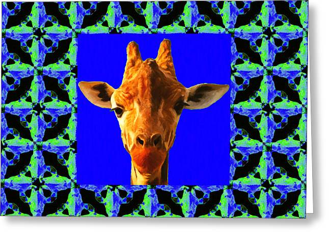 Giraffe Abstracts Greeting Cards - Giraffe Abstract Window 20130205p100 Greeting Card by Wingsdomain Art and Photography