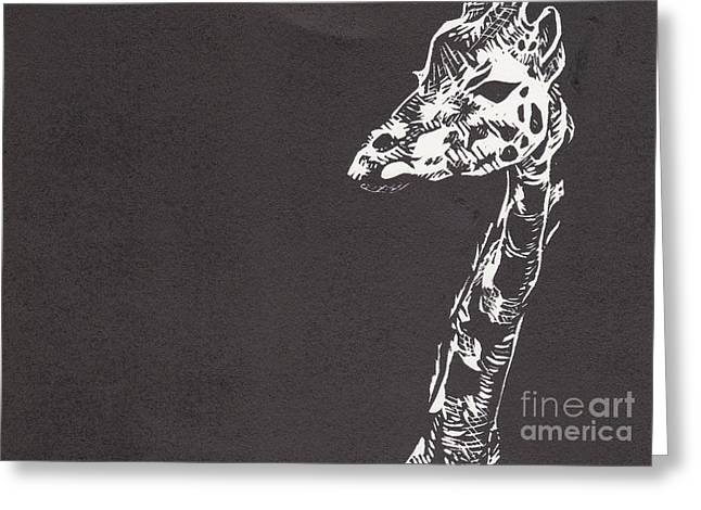 Lino Mixed Media Greeting Cards - Giraffe Greeting Card by Alexis Sobecky