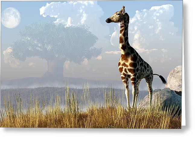 Baobab Greeting Cards - Giraffe and Giant Baobab Greeting Card by Daniel Eskridge