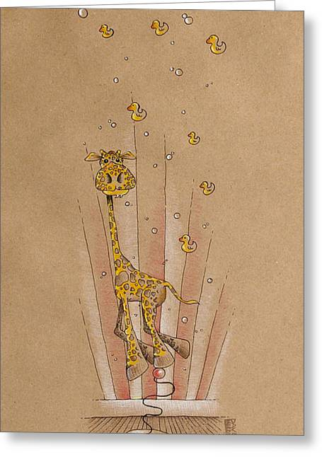 Rubber Ducky Greeting Cards - Giraffe and Rubber Duckies Greeting Card by David Breeding