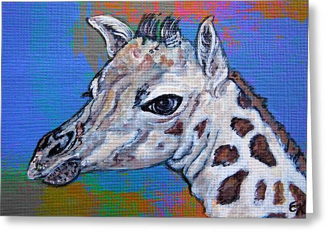 Longneck Greeting Cards - Giraffe - Baby Announcement Greeting Card by Ella Kaye Dickey
