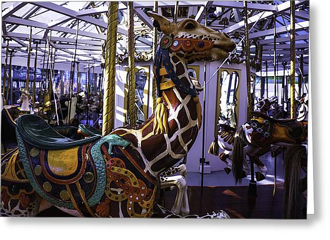 Amusements Greeting Cards - Giraffe Carousel Ride Greeting Card by Garry Gay