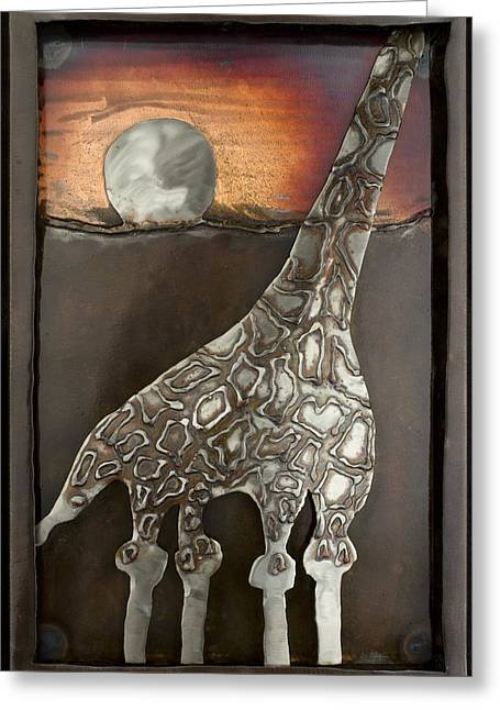 Wall Reliefs Greeting Cards - Giraffe Greeting Card by Chip Vander Wier