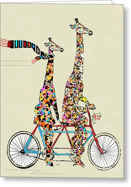 Fine Art Digital Art Greeting Cards - Giraffe Days Lets Tandem Greeting Card by Bri Buckley