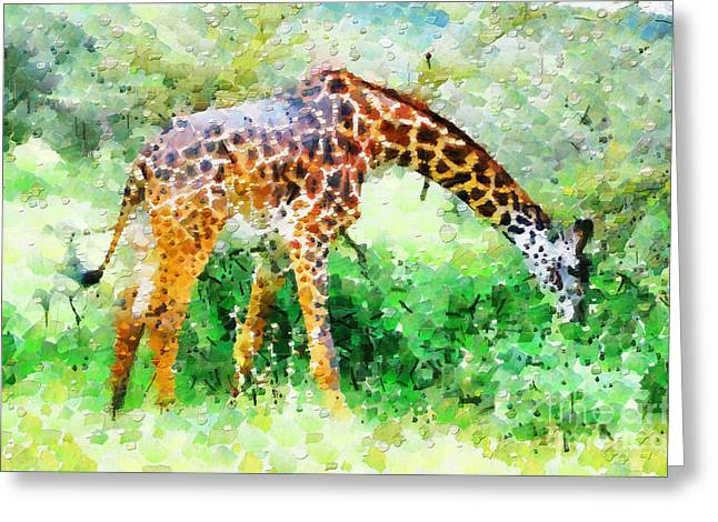 Giraffe Eating Grass Painting Greeting Card by George Fedin and Magomed Magomedagaev