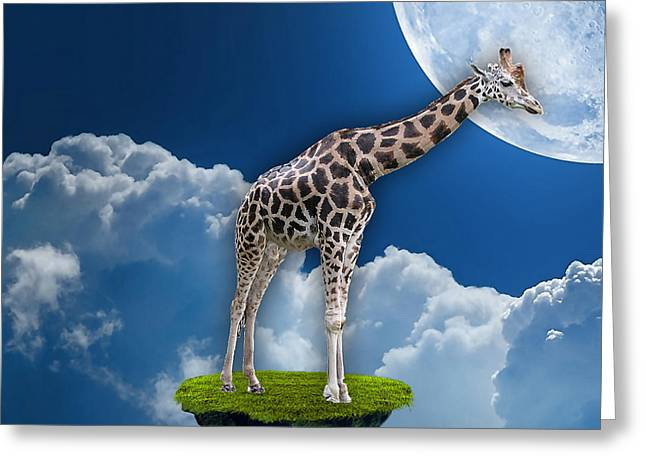 Giraffe Flying High Greeting Card by Marvin Blaine