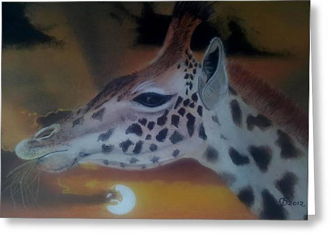 Continent Pastels Greeting Cards - Giraffe Greeting Card by Gea Scheltinga
