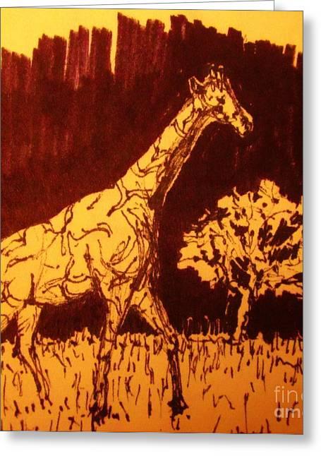 Sketchbook Greeting Cards - Giraffe  in Habitat Greeting Card by John Malone