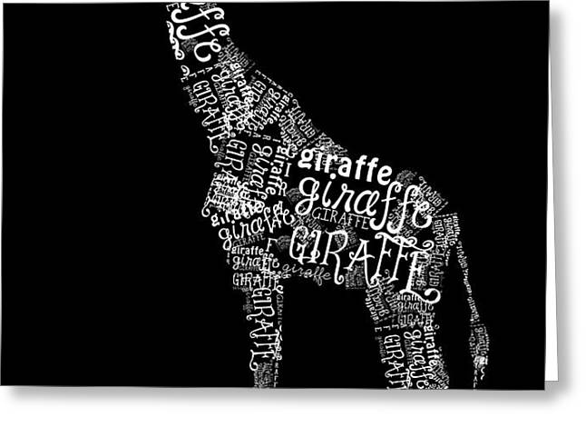 Giraffe is the Word Greeting Card by Heather Applegate