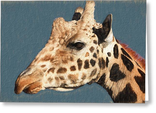Out Of Africa Greeting Cards - Giraffe- Kibo Greeting Card by Donna Kennedy