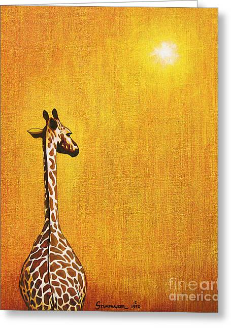 Yellow Paintings Greeting Cards - Giraffe Looking Back Greeting Card by Jerome Stumphauzer