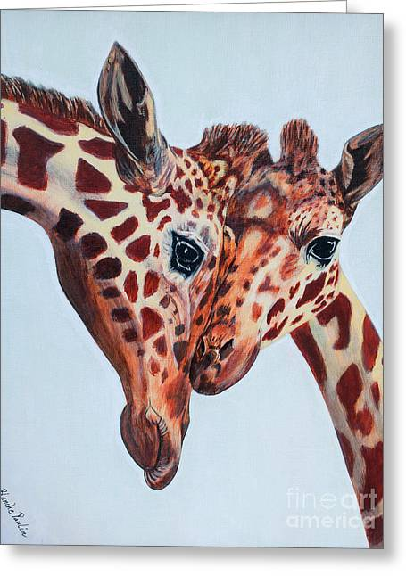 Portraits Tapestries - Textiles Greeting Cards - Giraffe Love Greeting Card by Blanch Paulin
