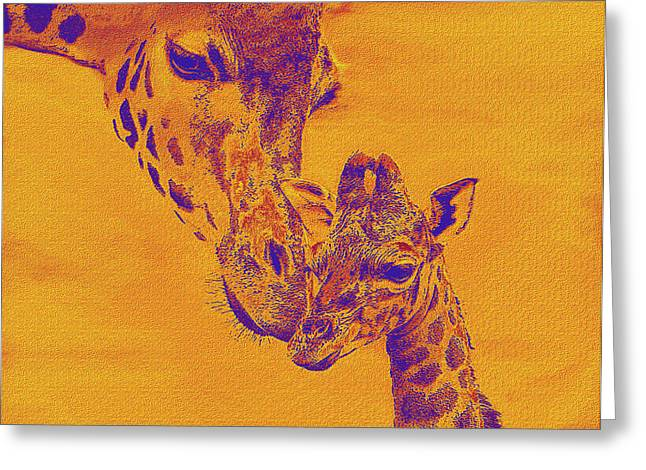 Bonding Digital Art Greeting Cards - Giraffe Love Greeting Card by Jane Schnetlage