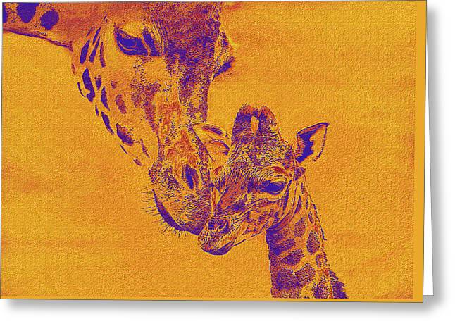 Family Love Greeting Cards - Giraffe Love Greeting Card by Jane Schnetlage