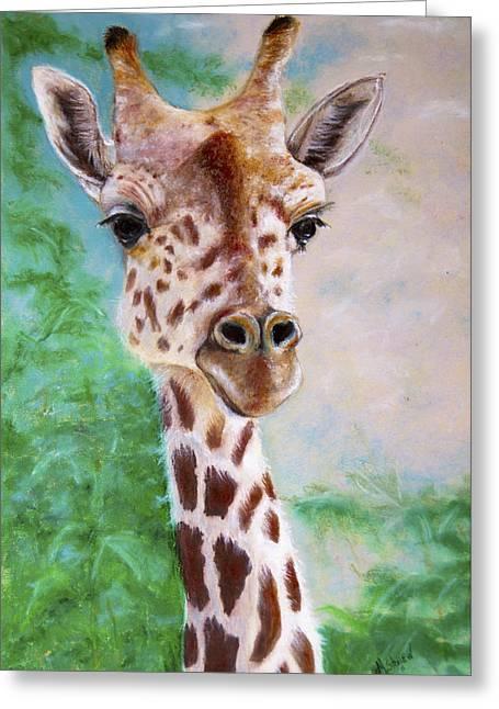 Wide-eyed Greeting Cards - Grace of Giraffe Greeting Card by Marie Stone Van Vuuren