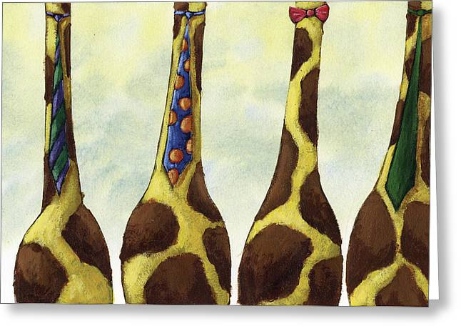 Humor Greeting Cards - Giraffe Neckties Greeting Card by Christy Beckwith