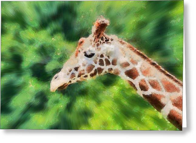Warp Paintings Greeting Cards - Giraffe Painted Poster Greeting Card by Dan Sproul