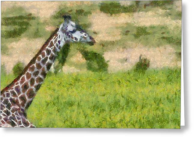 Feeding Mixed Media Greeting Cards - Giraffe Painting  Greeting Card by Dan Sproul