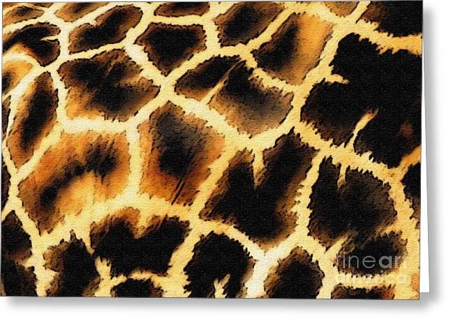 Pandute Digital Art Greeting Cards - Giraffe. Photo With Texture Greeting Card by Ausra Paulauskaite