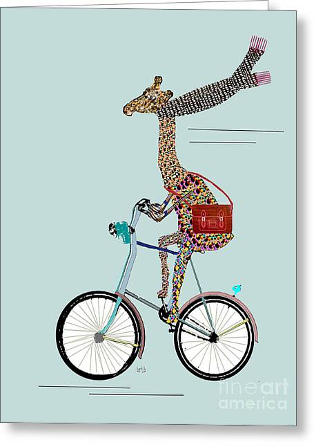 Artist Fashion Art Greeting Cards - Giraffe School Days Greeting Card by Bri Buckley
