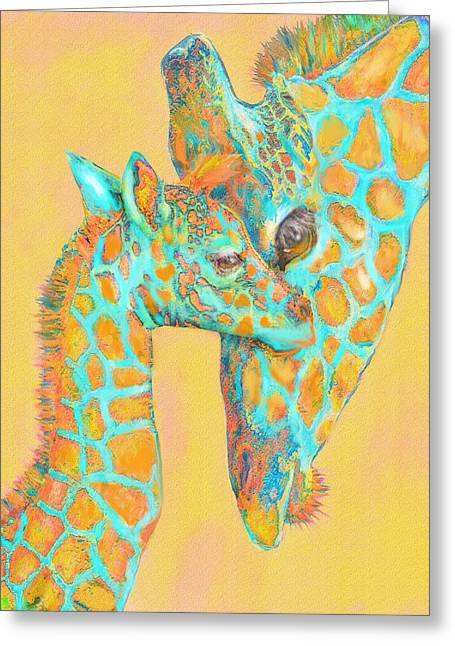 Family Love Greeting Cards - Giraffe Shades- Orange And Aqua Greeting Card by Jane Schnetlage