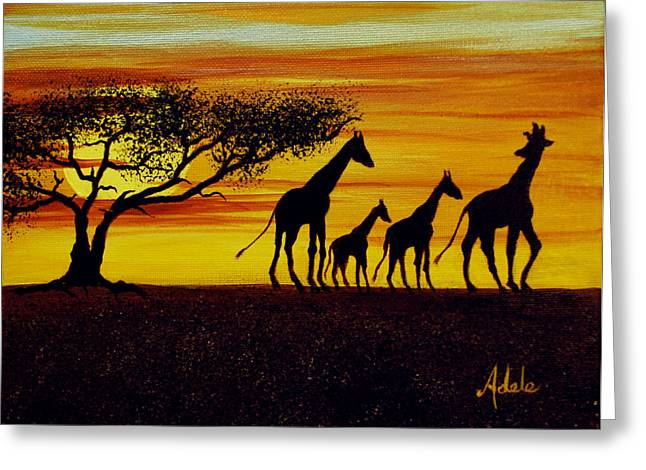 I-phone Case Greeting Cards - Giraffe Silhouette  Greeting Card by Adele Moscaritolo
