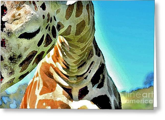 Giraffe Snuggle Greeting Card by Cadence Spalding