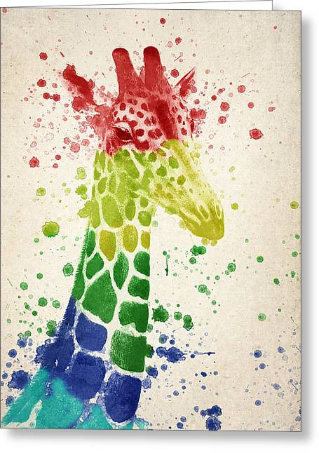 Giraffe Splash Greeting Card by Aged Pixel