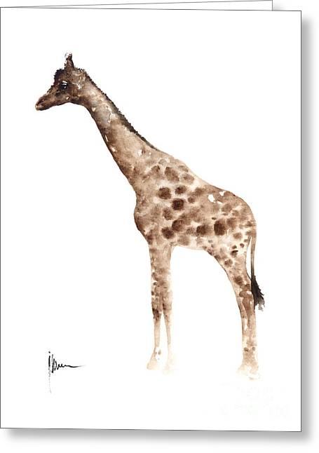 Giraffe Watercolor Art Print Painting African Animals Poster Greeting Card by Joanna Szmerdt