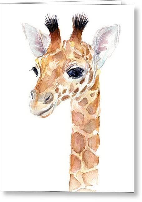 Baby Boy Greeting Cards - Giraffe Watercolor Greeting Card by Olga Shvartsur