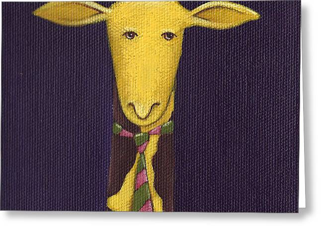 Giraffe Wearing Tie Greeting Card by Christy Beckwith