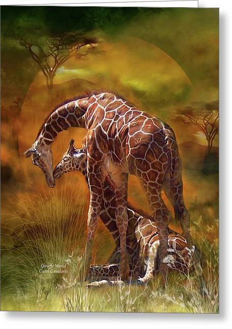 Giraffe World Greeting Card by Carol Cavalaris