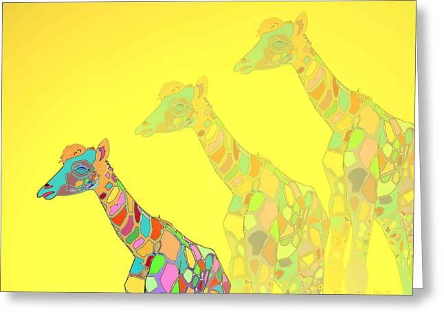 Giraffe X 3 - Yellow - The Card Greeting Card by Joyce Dickens