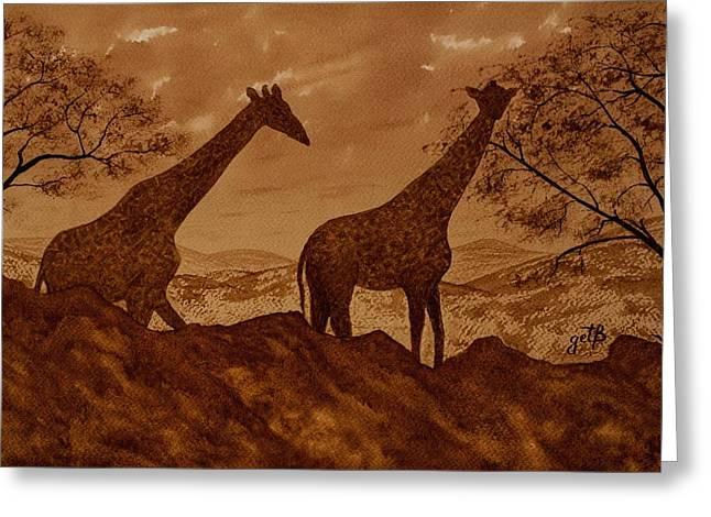 Giraffes At Dawn Greeting Card by Georgeta Blanaru