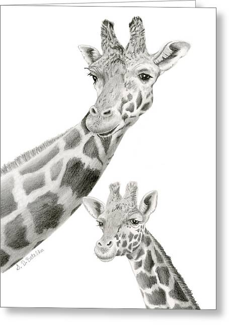 Baby Animal Drawings Greeting Cards - Mother Giraffe And Calf Sketch Greeting Card by Sarah Batalka