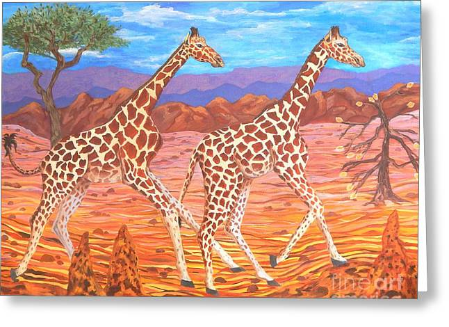 Carolinestreetart Greeting Cards - Giraffes Courting Greeting Card by Caroline Street