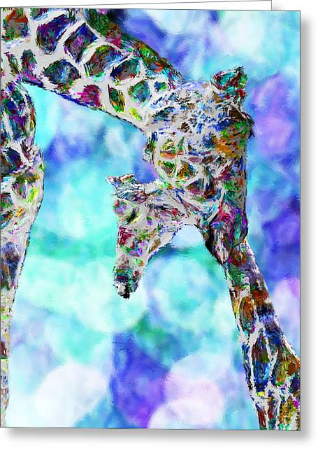 Digital Media Greeting Cards - Giraffes - Happened At The Zoo Greeting Card by Jack Zulli