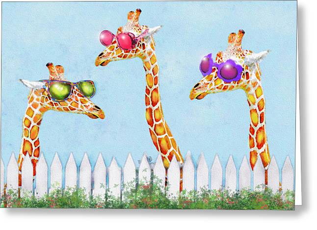 Giraffe Digital Art Greeting Cards - Giraffes In Sunglasses Greeting Card by Jane Schnetlage