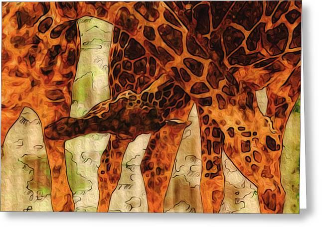 Creating Greeting Cards - Giraffes  Greeting Card by Jack Zulli