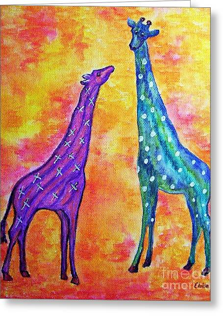 Boy Greeting Cards - Giraffes with Xs and Os Greeting Card by Eloise Schneider