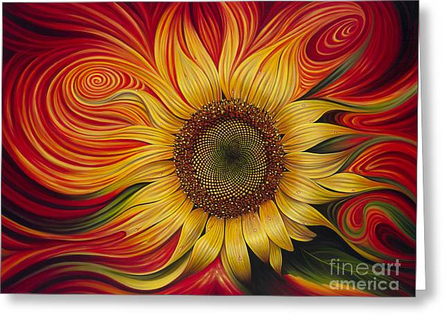 Bright Paintings Greeting Cards - Girasol Dinamico Greeting Card by Ricardo Chavez-Mendez