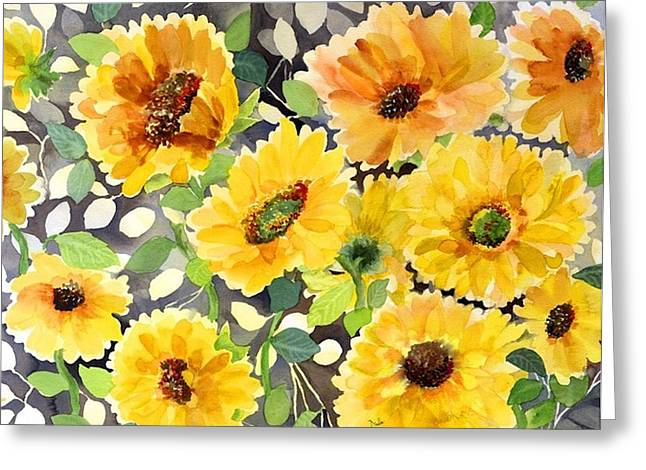 Girasol Greeting Cards - Girasol Greeting Card by Neela Pushparaj